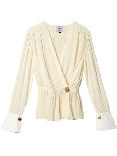 WOORI SILK WRAP WITH CUFF BLOUSE_IVORY