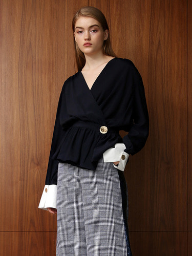 WOORI SILK WRAP WITH CUFF BLOUSE