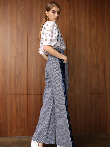 JENNIFER HIGHWAISTED LINEN & SEQUIN WIDE PANTS