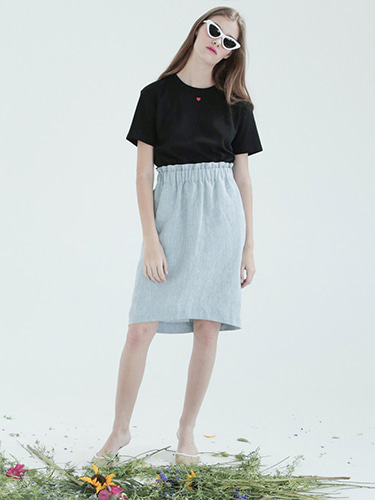 [SELF-LOVE] PEARL RUFFLED WAIST LINEN SKIRT