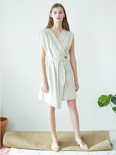 [SELF-LOVE]HAILEY WRAP LINEN DRESS