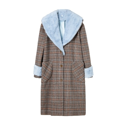 CAMILLE OVERSIZED WOOL & FUR COAT_BLUE