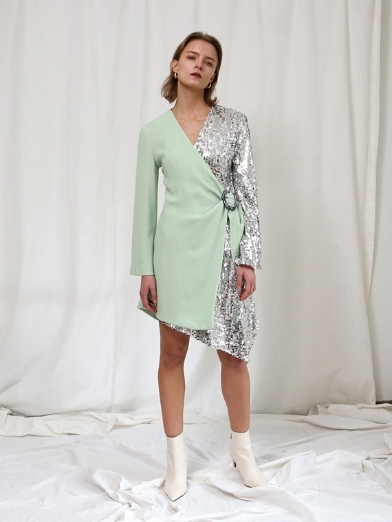 TINK HALF SEQUINED WRAP DRESS