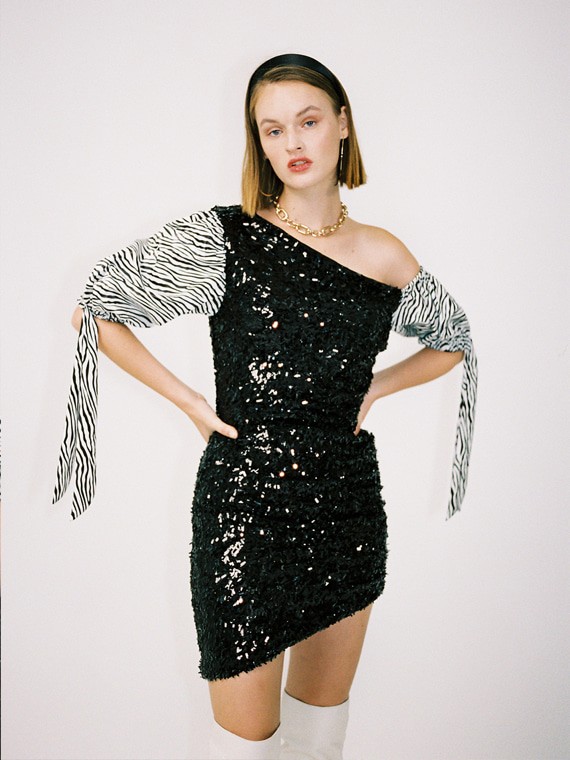KIMBERLY ZEBRA SEQUINED DRESS