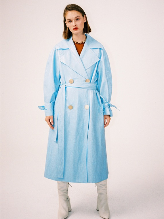 SKY FAUX LEATHER COAT_SEA BLUE