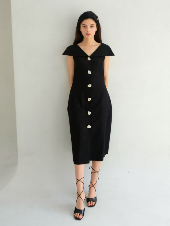 PENNY COLLAR VOLUME DRESS_BLACK