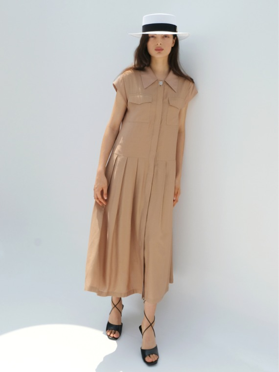 HEATHER SHIRT MAXI DRESS_BEIGE