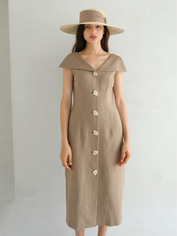 PENNY COLLAR VOLUME DRESS_BEIGE