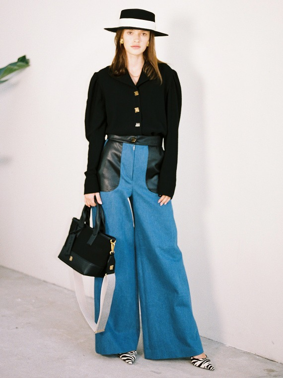 JENNA DENIM WIDE PANTS_BLACK