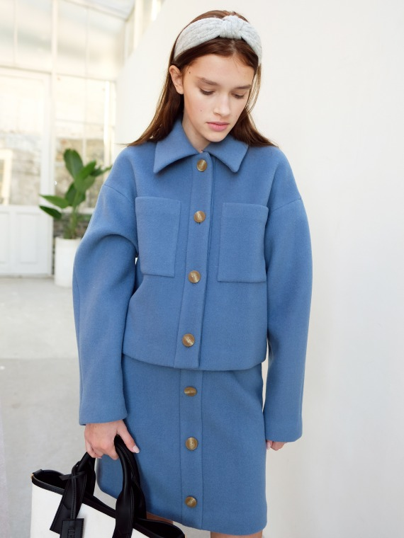 ANDREA WOOL SHORT JACKET_BLUE