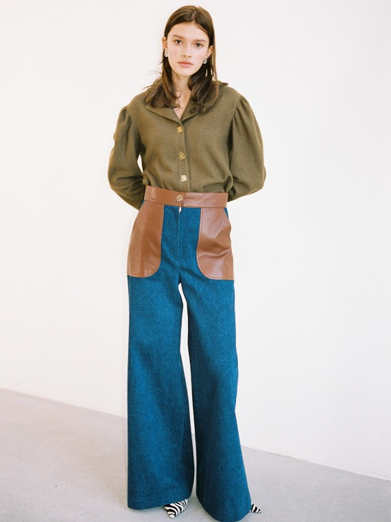 JENNA DENIM WIDE PANTS_BROWN