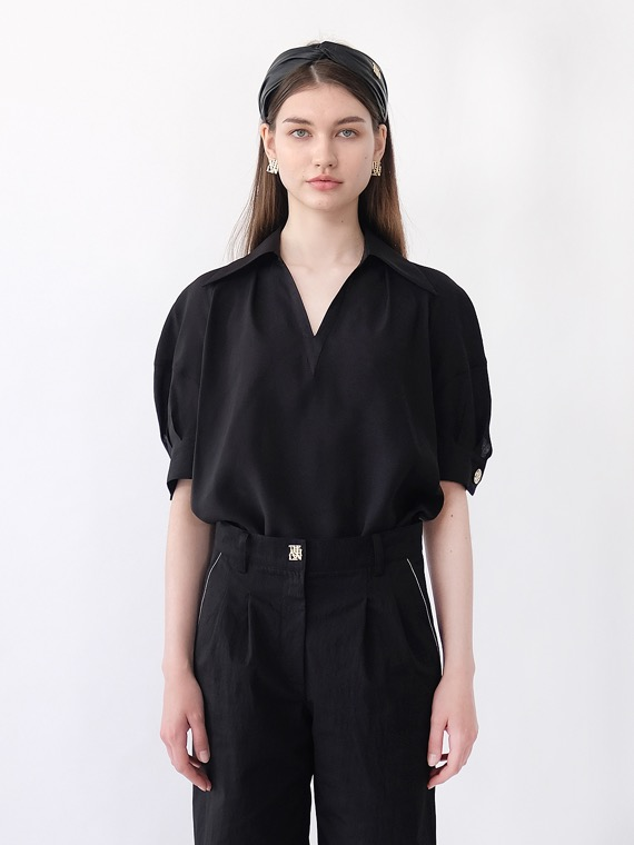 BLAIR SHEER COLLAR BLOUSE_BLACK