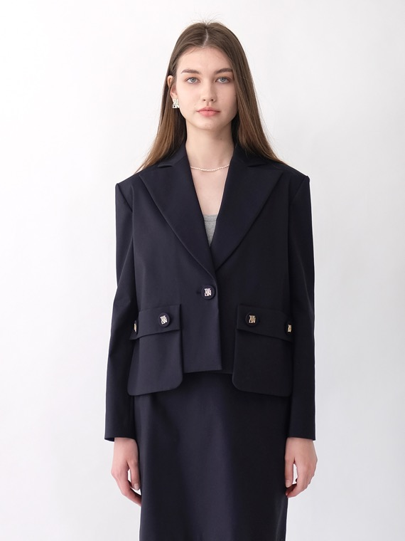 JESSIE CROP JACKET_NAVY