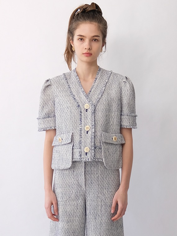 DIANA TWEED CROP JACKET_BLUE