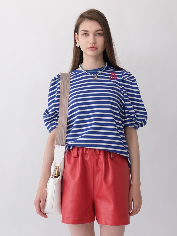 NEW MIA STRIPE PUFF SLEEVES TOP_BLUE