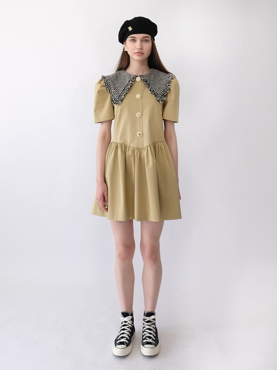 JENNY TWEED COLLAR DRESS SHORT_KHAKI