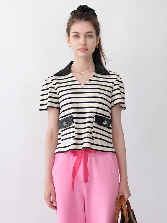 CAT STRIPE LEATHER COLLAR TOP_IVORY