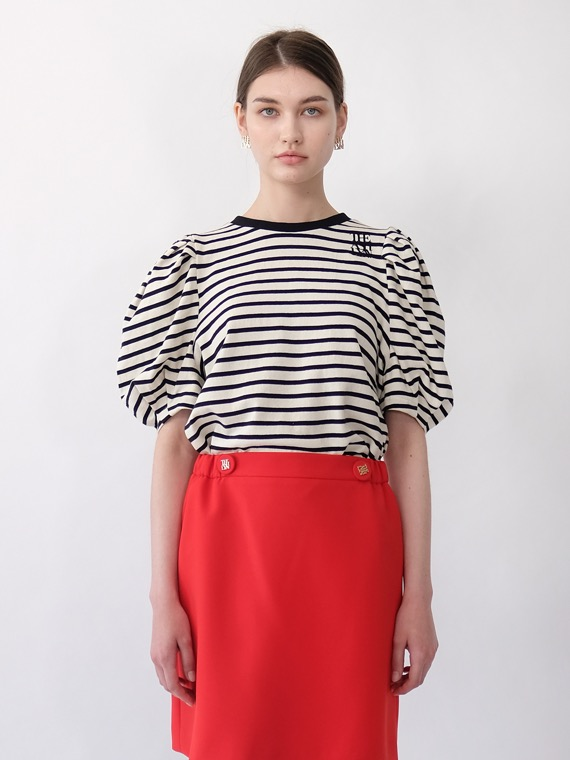 NEW MIA STRIPE PUFF SLEEVES TOP_BLACK