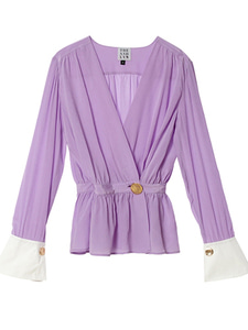 [송지효착용] WOORI SILK WRAP WITH CUFF BLOUSE_PURPLE