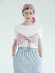 [SELF-LOVE] DIXIE LINEN BOW T SHIRT_WHITE