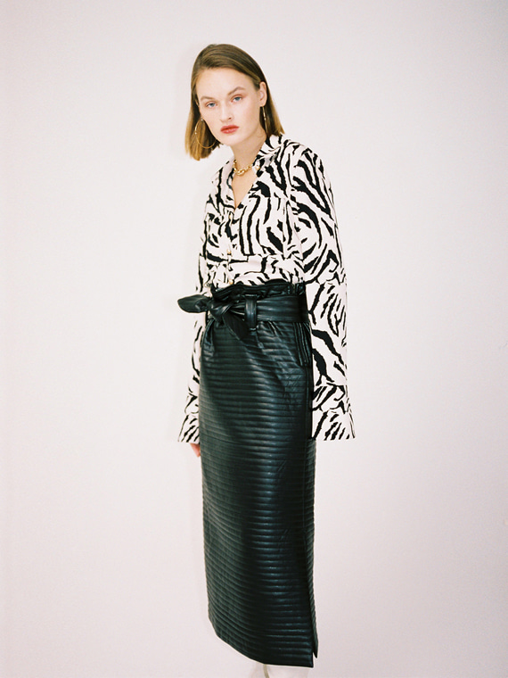 PAGE QUILTED FAUX LEATHER MAXI SKIRT