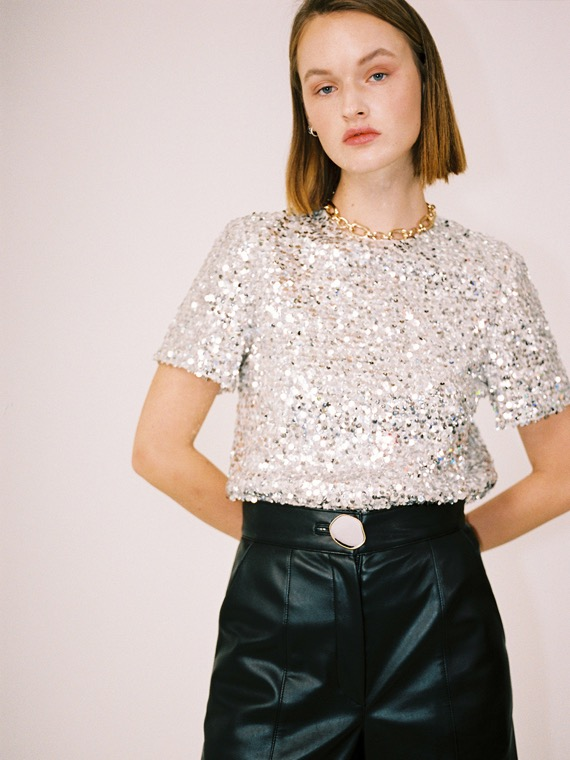 ASHLEY SEQUINS SHORT SLEEVE TOP