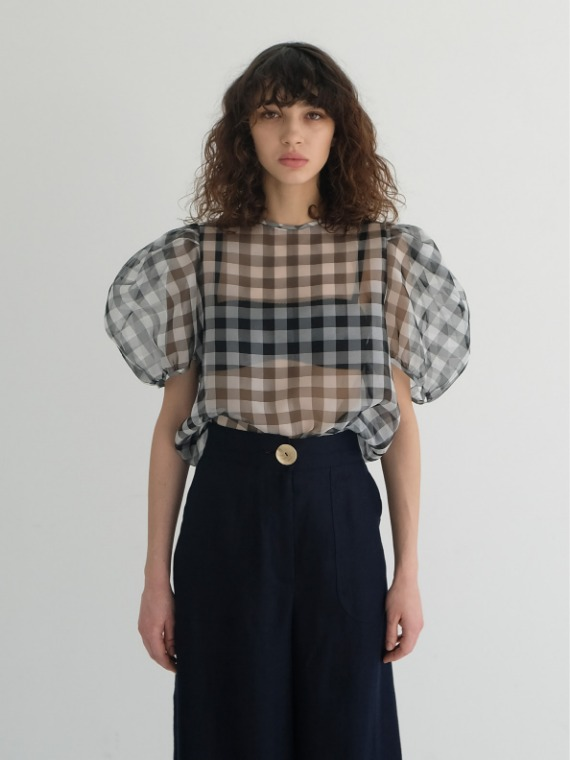 KAIA SHEER CHECK BLOUSE
