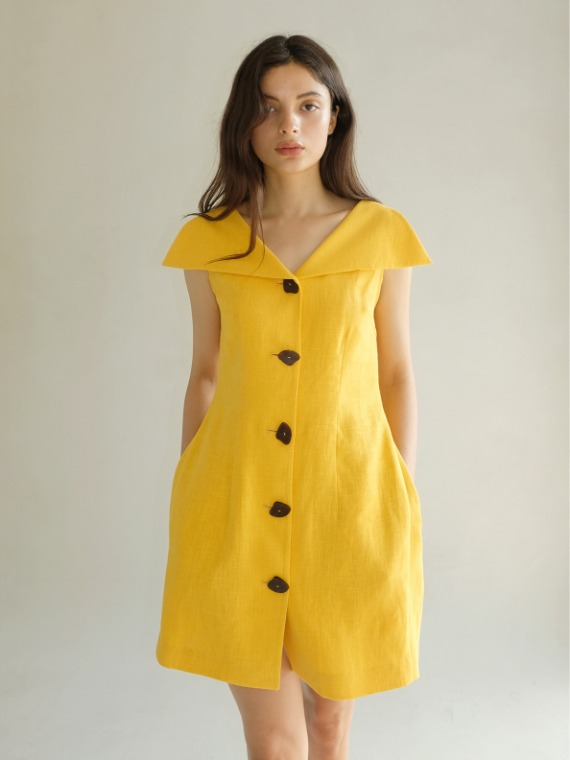 MINI PENNY COLLAR VOLUME DRESS_YELLOW