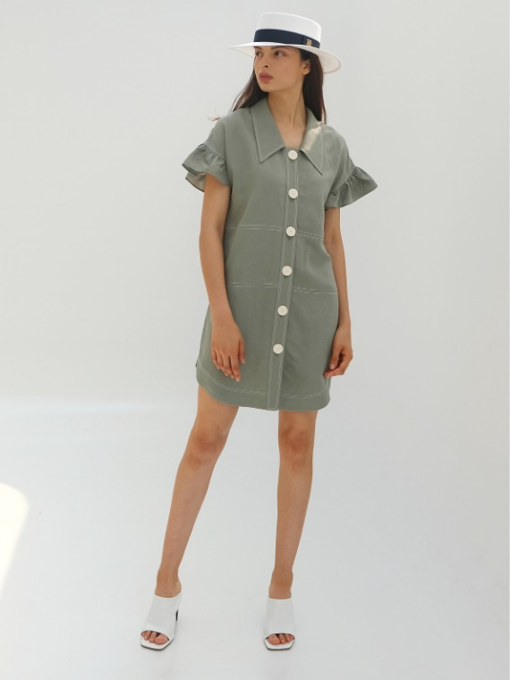JENNY FRILLED TUNIC DRESS_JADE