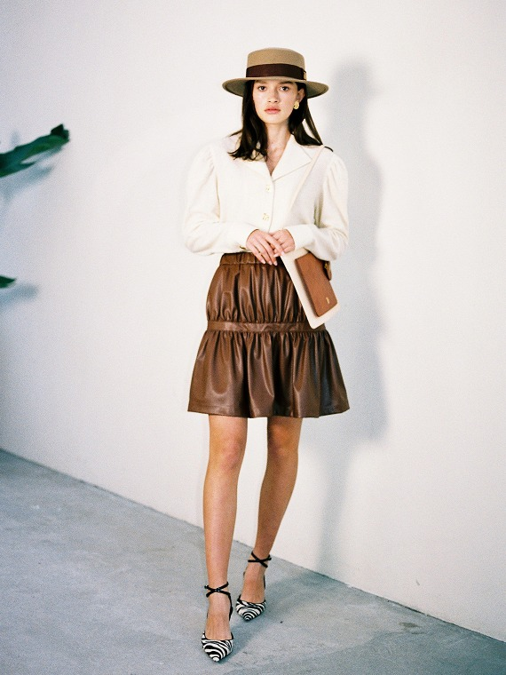 ANGEL SHIRRED LEATHER SKIRT_BROWN