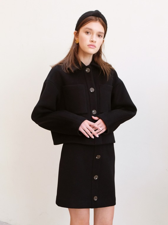 ANDREA WOOL SHORT JACKET_BLACK