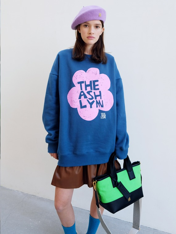 LILY FLOWER OVERSIZED SWEATSHIRT_TEAL BLUE