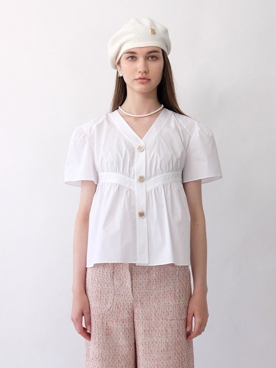 RYLIE VOLUME SHIRRING BLOUSE_WHITE