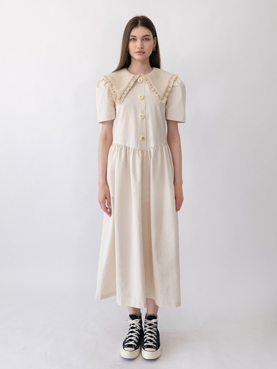 JENNY TWEED COLLAR DRESS LONG_IVORY
