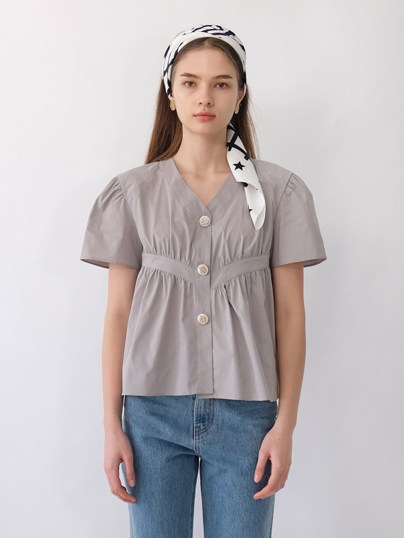 RYLIE VOLUME SHIRRING BLOUSE_GREY