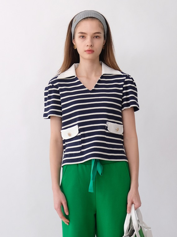 CAT STRIPE LEATHER COLLAR TOP_NAVY