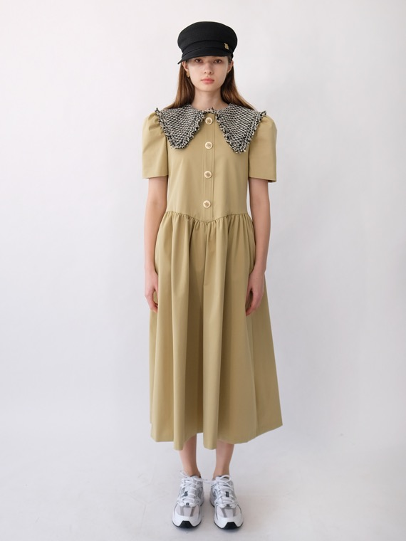 JENNY TWEED COLLAR DRESS LONG_KHAKI
