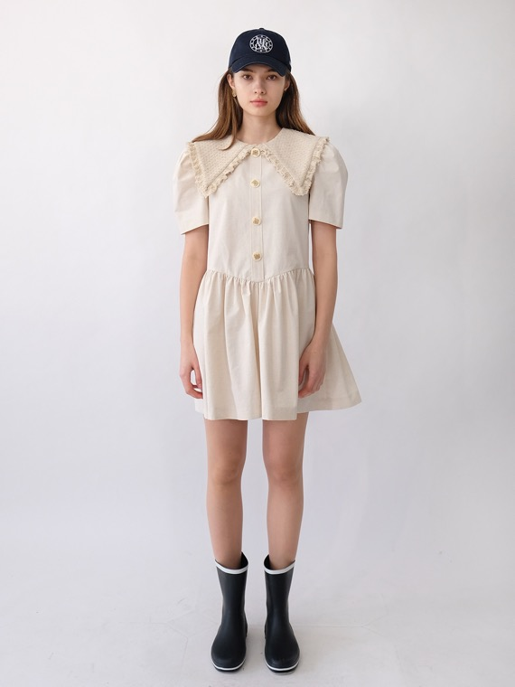 JENNY TWEED COLLAR DRESS SHORT_IVORY