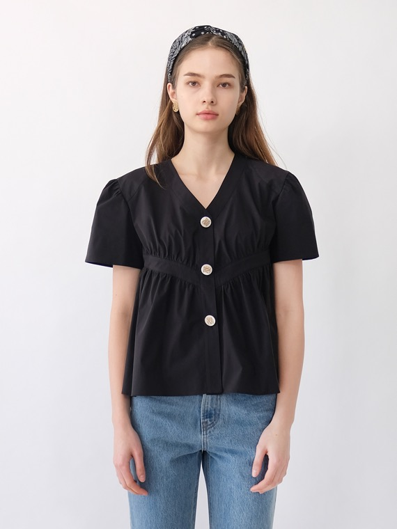 RYLIE VOLUME SHIRRING BLOUSE_BLACK